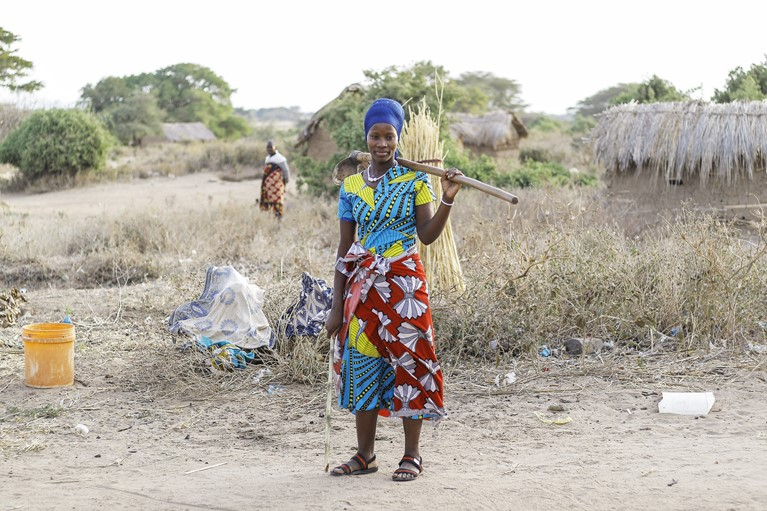 Oliva walks to work in fields near her home in Karatu District in Tanzania, August 2020. Photo credit: Richard Wainwright/Caritas Australia.